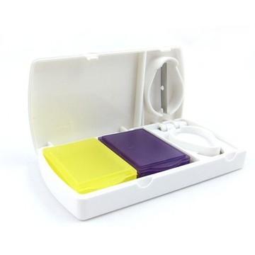 便携方形双彩盒带切片功能药盒切药器随身药物收纳盒.