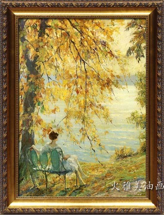 火雅美 火雅美油画手绘 欧式走廊装饰画 客厅玄关竖幅壁画 古典风景13