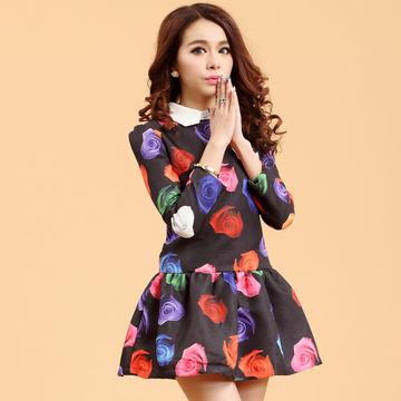 韩版春装新款女装修身打底九分袖连衣裙花色娃娃领公主裙