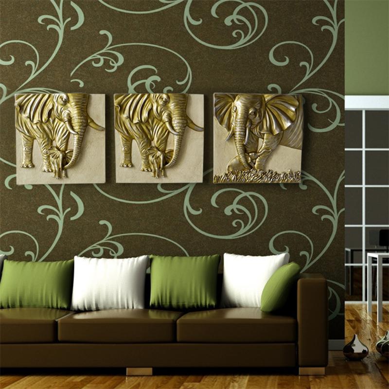 品欧式树脂动物装饰品母子大象壁饰客厅复古背景墙面